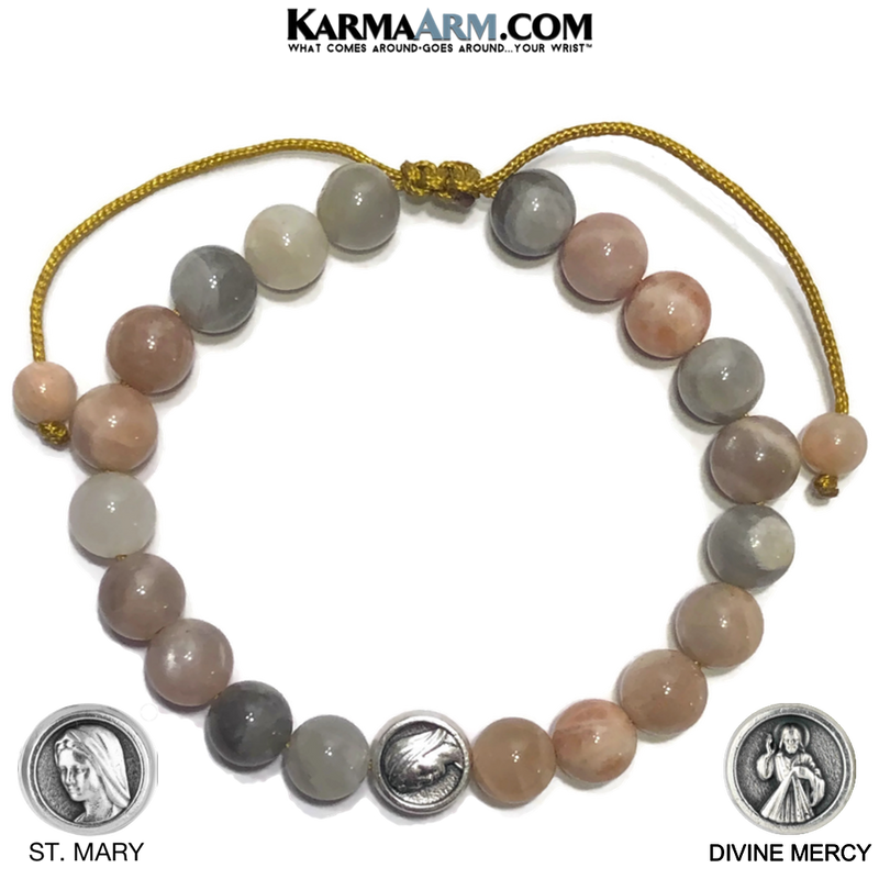 St. Mary Divine Mercy Meditation Mens Bracelet. Self-Care Wellness Wristband Yoga Jewelry. Sunstone.