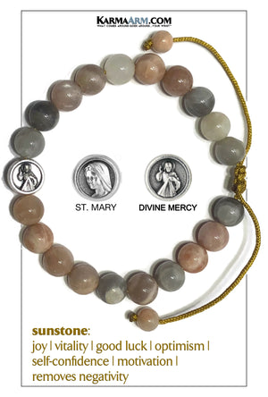 Divine Mercy St. Mary Meditation Mens Bracelet. Self-Care Wellness Wristband Yoga Jewelry. Sunstone.