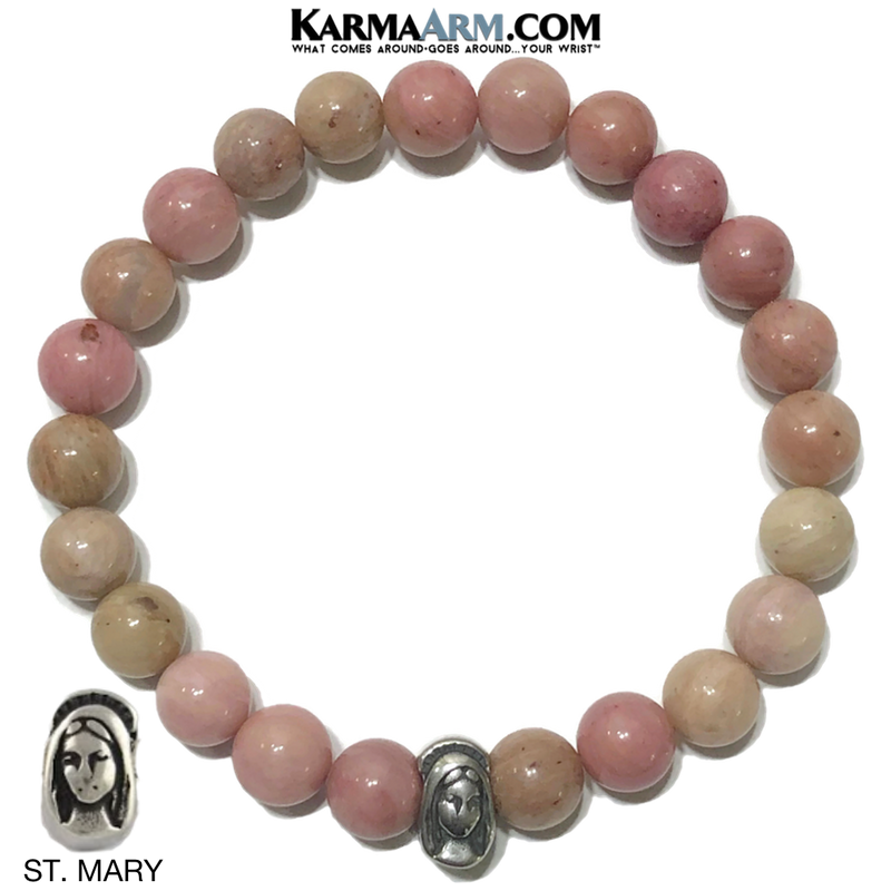 St. Mary Virgin Mother Meditation Mantra Yoga Bracelets. Mens Wristband Jewelry.