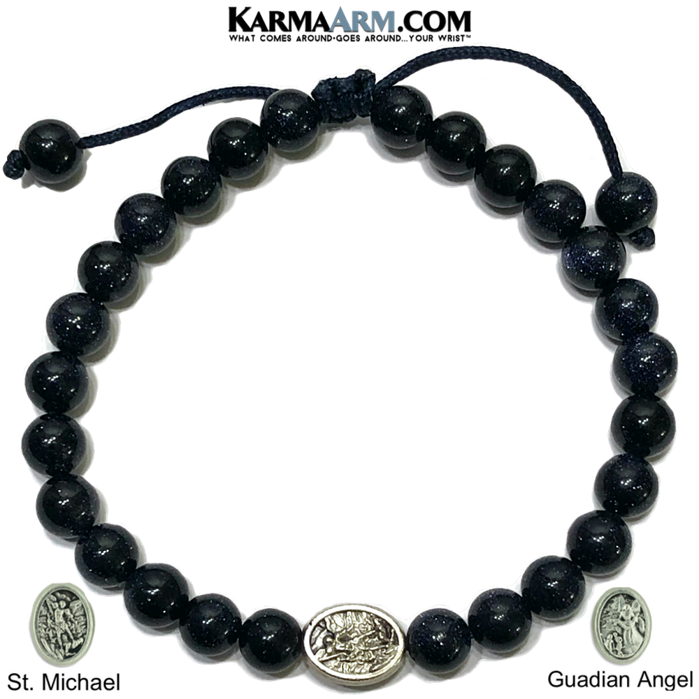 St. Michael Guadian Angel Meditation Yoga Bracelet. Mantra Bead Self-Care Wellness Wristband.  Blue Goldstone.