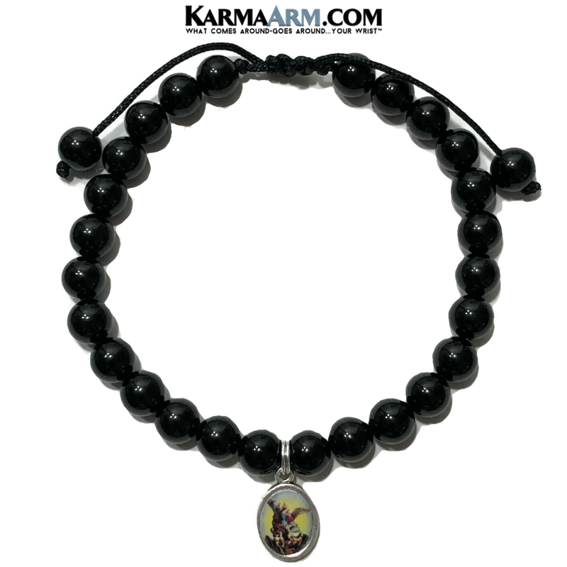 St. Michael Wellness Self-Care Meditation Yoga Bracelets. Mens Wristband Jewelry. Black Onyx.