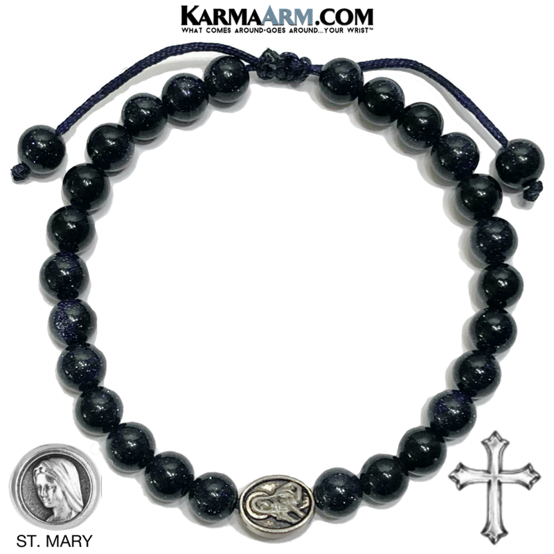 St. Sacred Heart of Mary Meditation Self-Care Wellness Mantra Yoga Bracelet. Bead Wristband.  Blue Goldstone.