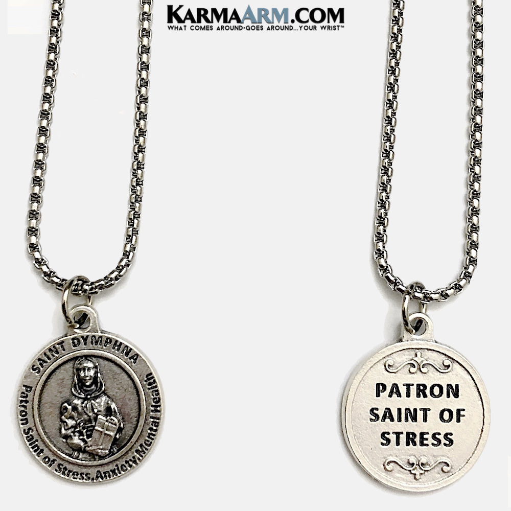 St Dymphna Medal Patron. Saint of Stress, Anxiety and Mental Health Necklaces. Medallion.