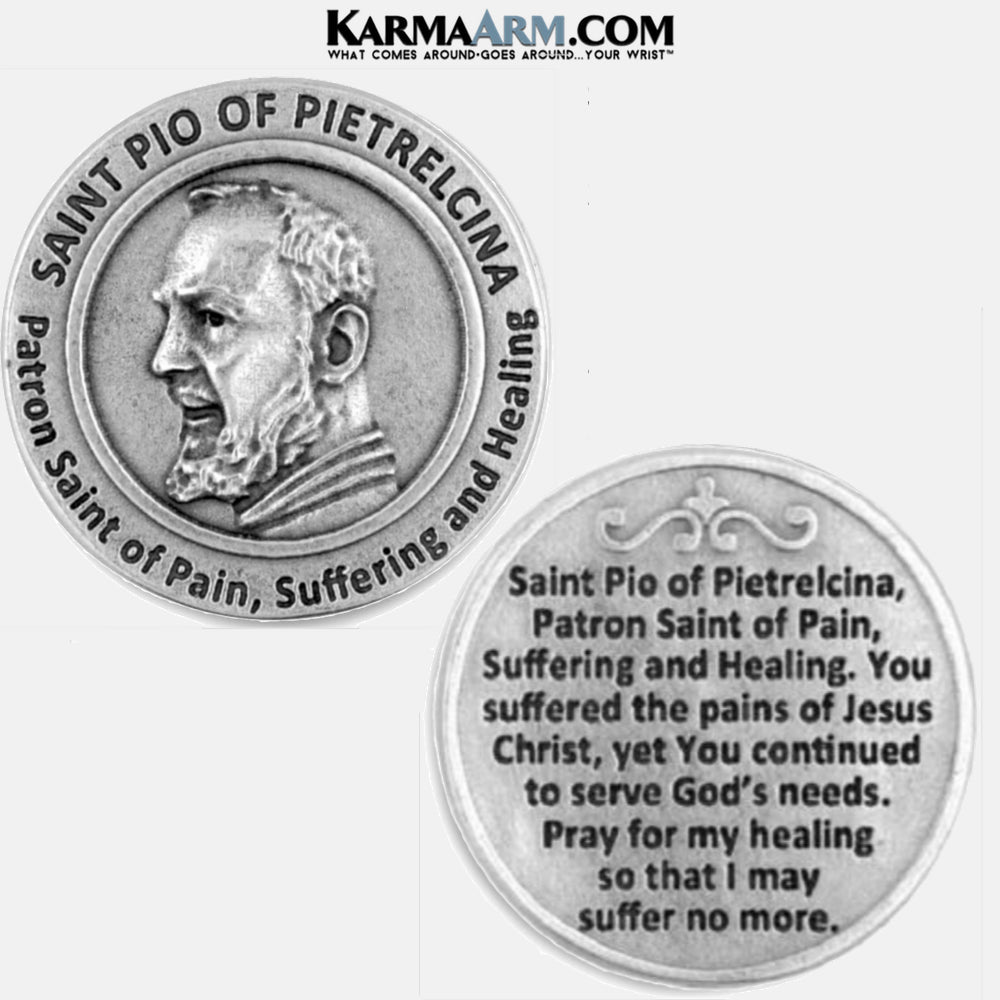 St Pio of Pietrelcina, Patron Saint of Pain, Suffering, and Healing Miracle Medal Pocket Token. Healing Saints | Prayer Tokens.  Lucky Poker Pocket Tokens.  Inspirational coins. copy 5