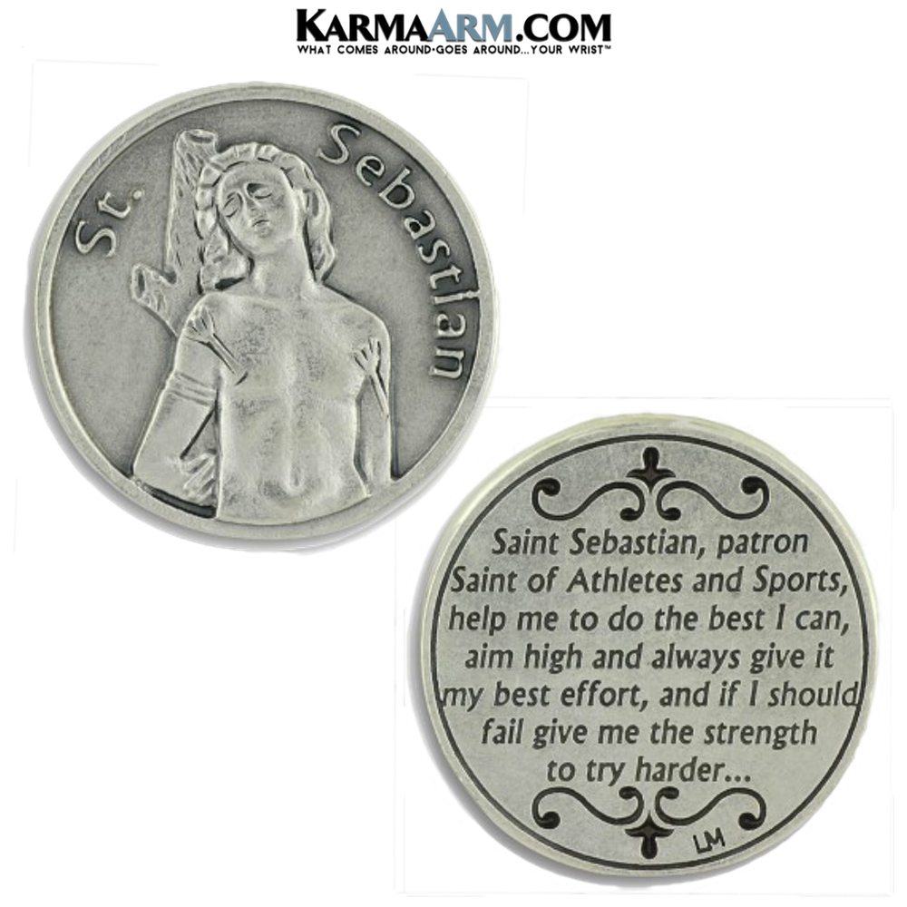St Sebastian Pocket Token. Healing Saints | Prayer Tokens.  Lucky Poker Pocket Tokens.  Inspirational coins.