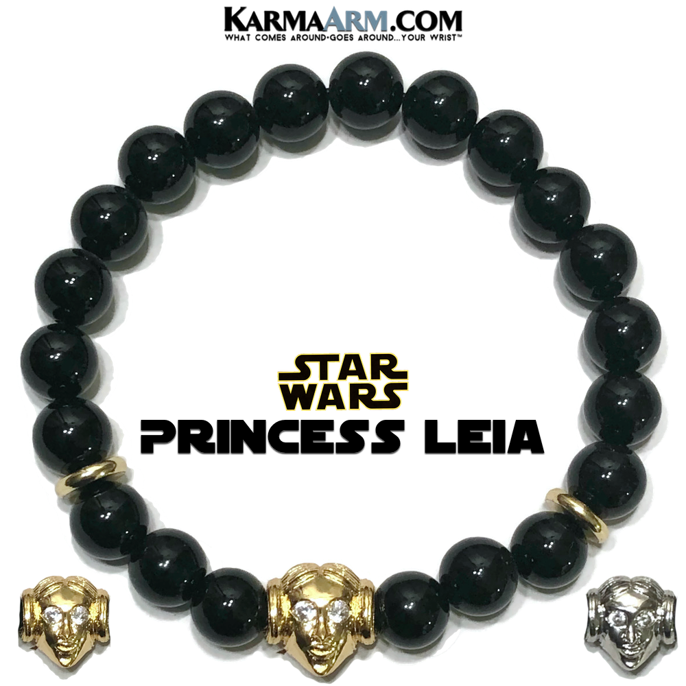 Star Wars Mandalorian Princess Leia Meditation Self-Care Wellness  Yoga Bracelets. Mens Wristband Jewelry. Black Onyx.