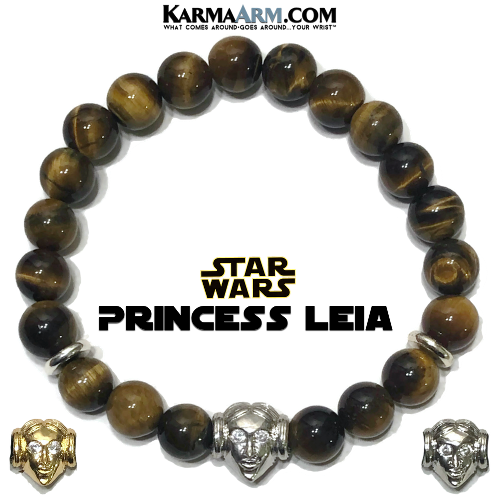 Star Wars Mandalorian Princess Leia Meditation Mantra Yoga Bracelets. Mens Self-care wellness Wristband Jewelry. Tiger Eye.