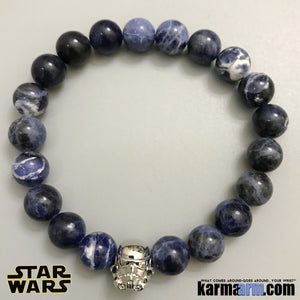 Star Wars StormTrooper Bracelets.  DC Comics Beaded Yoga. Handmade Bracelets. Law of Attraction #LOA. Charm Mala  Meditation & Mantra I Spiritual. Silver Sodalite.