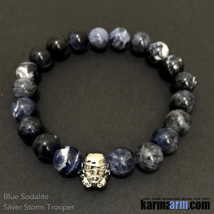 Star Wars Yoga Bracelets. Storm Trooper Blue Sodalite Beaded Yoga. Black Onyx Hematite 10mm Handmade Bracelets. Law of Attraction #LOA | Charm Mala I Meditation & Mantra I Spiritual.