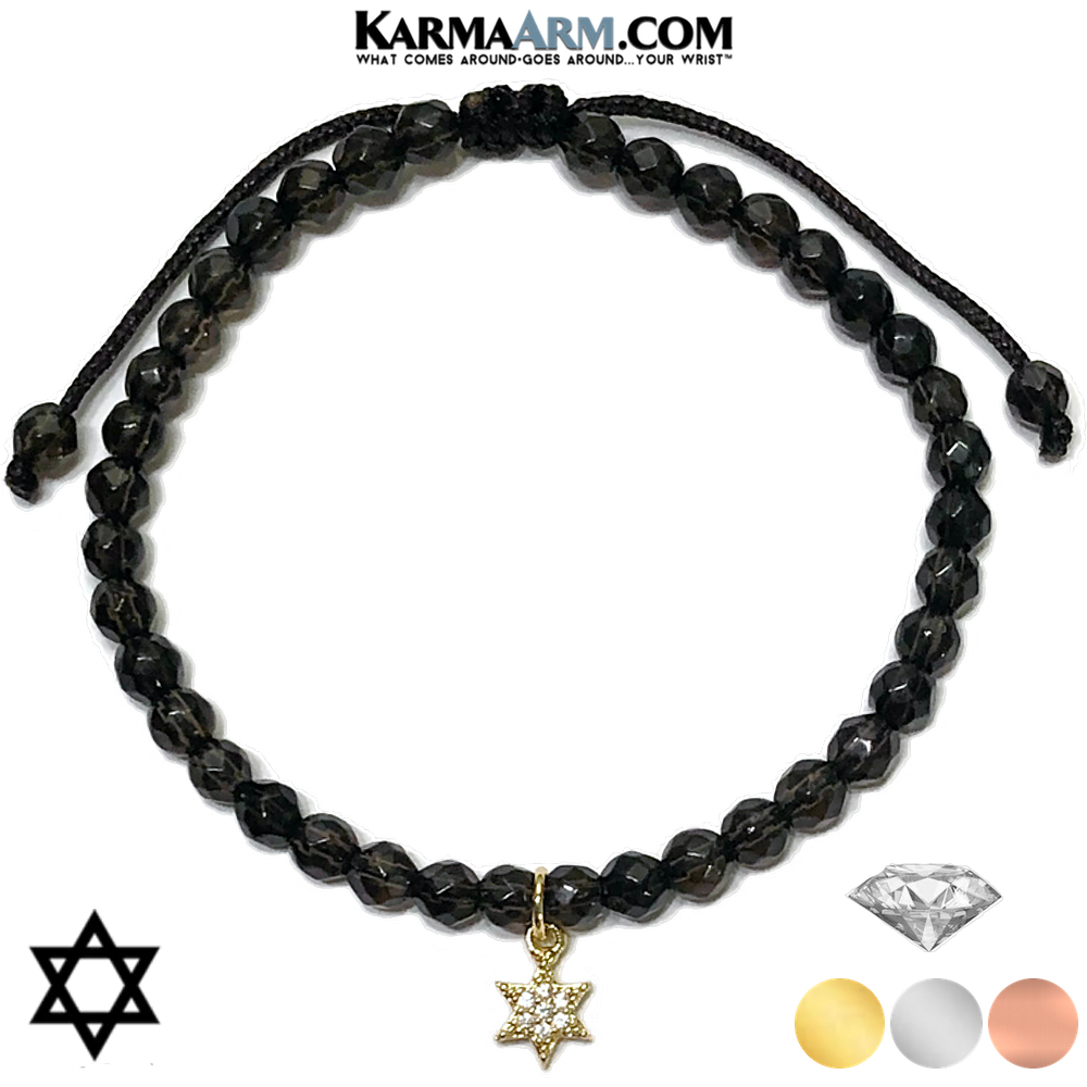 Star of David Meditation Mens Bracelet. Self-Care Wellness Wristband Yoga Jewelry. Smoky Quartz.