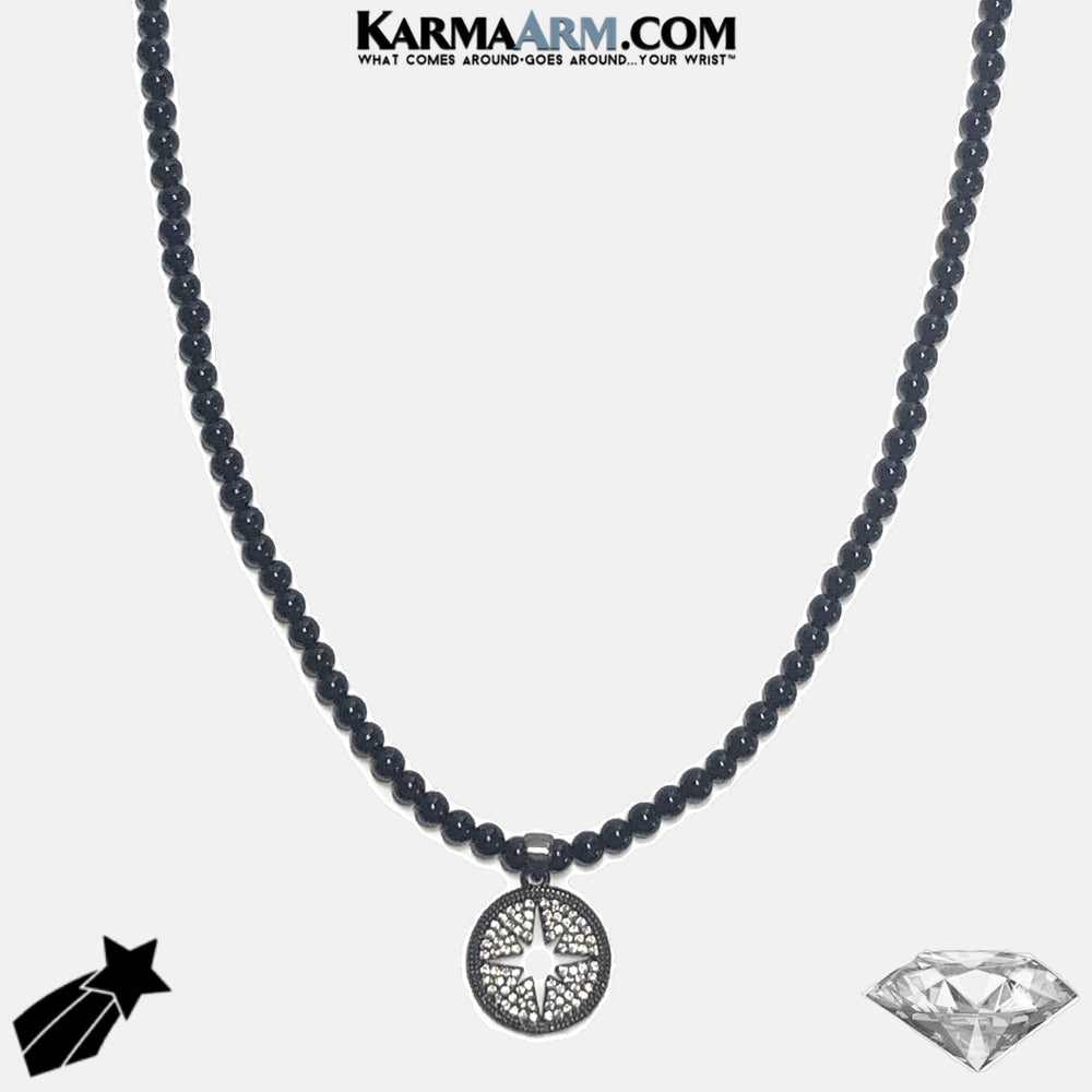 Necklace | GOOD ENERGY | Black Onyx | CZ Diamond STARBURST Charm