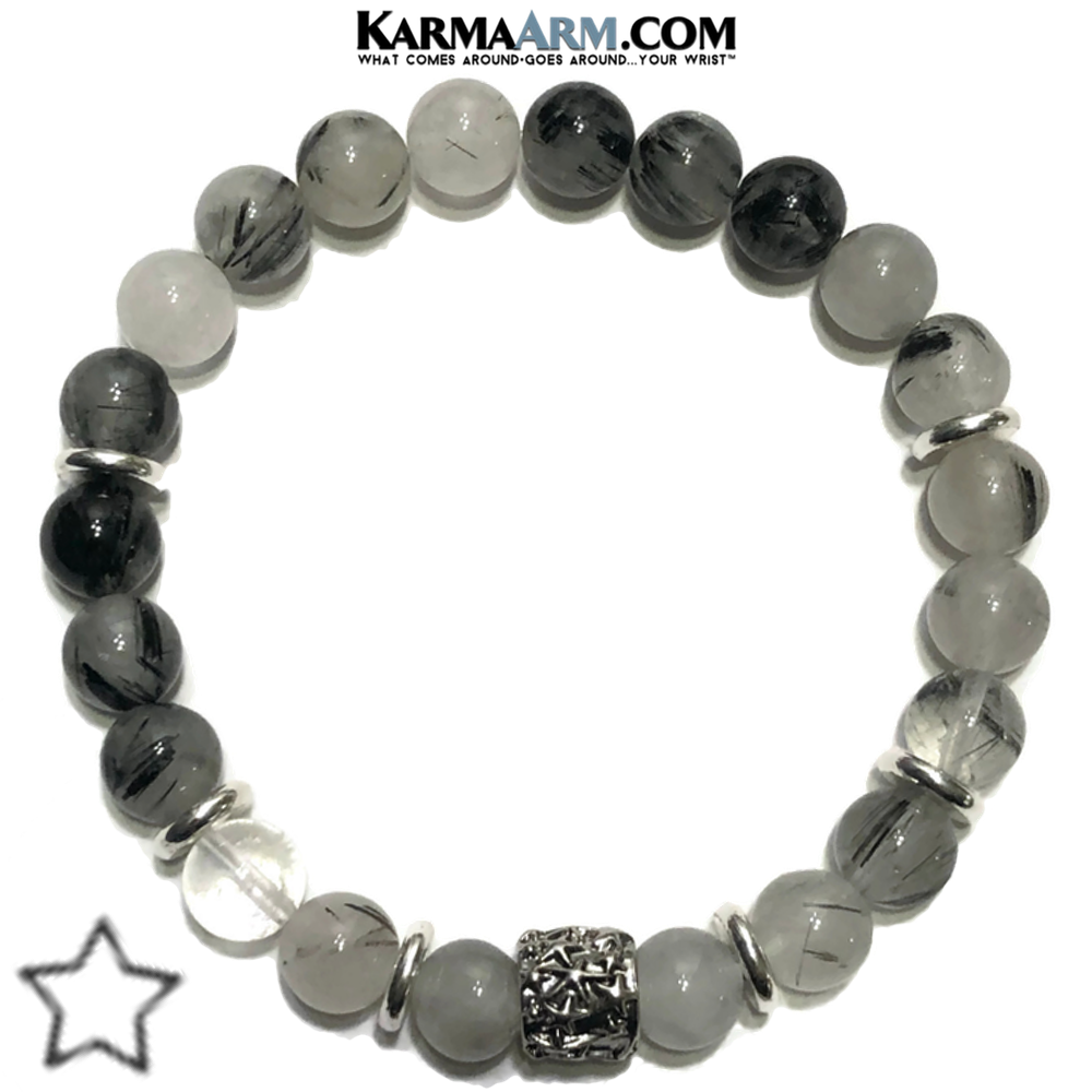 Stars Meditation Mantra Yoga Bracelet. Self-Care Wellness Wristband Tourmaline Quartz.