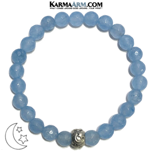 Stars Moon Meditation Mantra Yoga Bracelets. Mens Wristband Jewelry. Blue Jade.