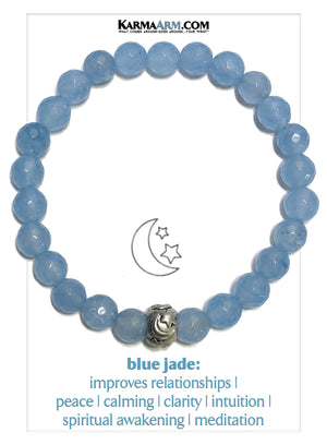 Stars Moon Wellness Self-Care Meditation Mantra Yoga Bracelets. Mens Wristband Jewelry. Blue Jade.