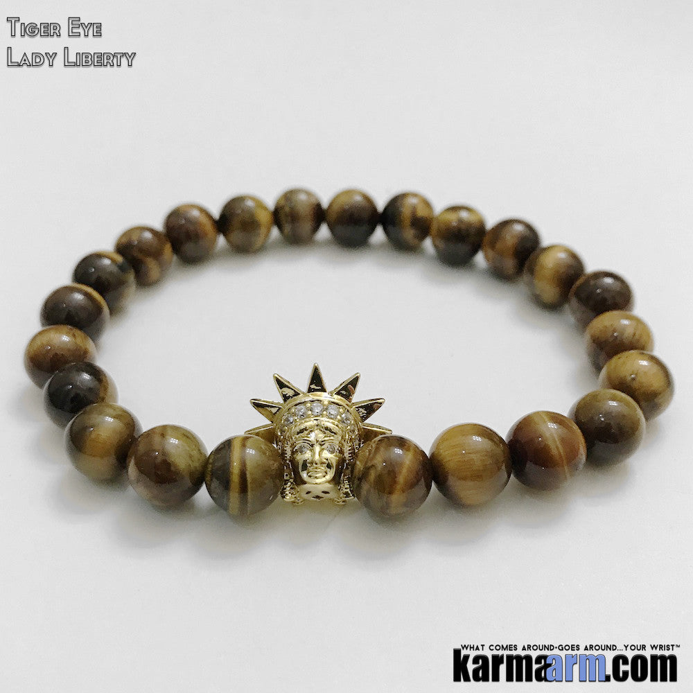 Statue of Liberty Lady Yoga Bracelets. Mens Women's Beaded Handmade Luxury.  Law of Attraction. Energy Healing. Beaded Mala. Tibetan Buddhist. #LOA. OM Mantra. Tiger Eye.