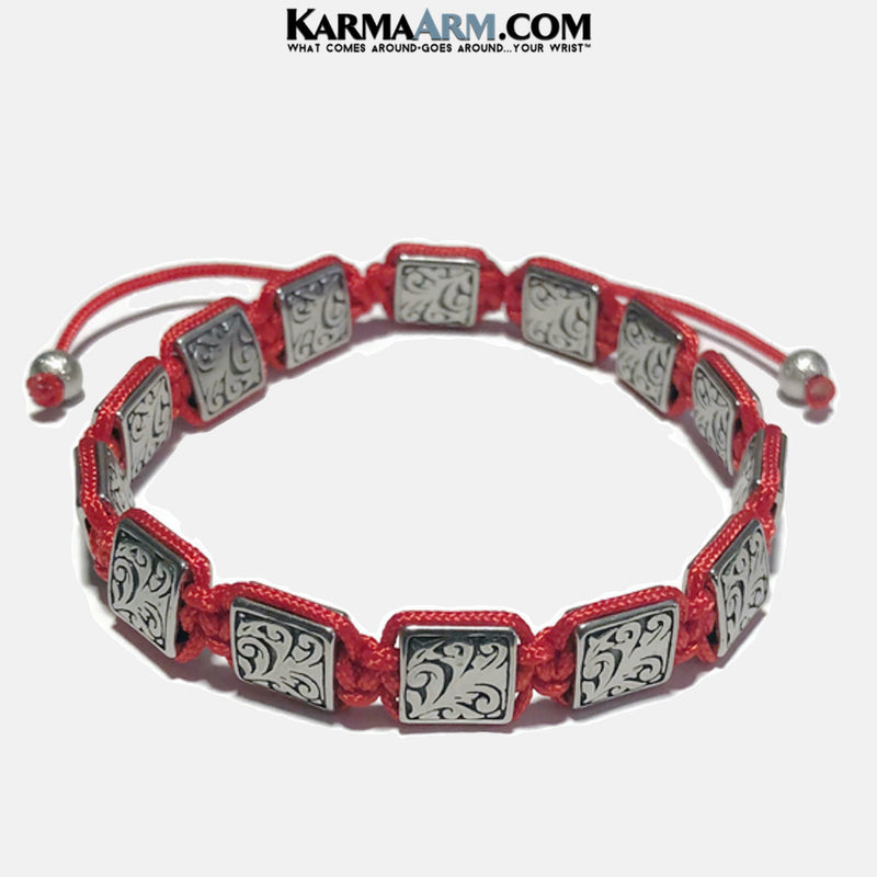 Sterling Flatbead Flat Bead Mens Meditation Mantra Yoga Bracelets. Mens Wristband Jewelry. Red Cord. copy