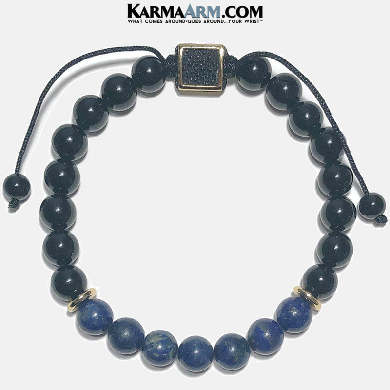 Stingray Leather Flat Bead Meditation Wellness Yoga Bracelets. Mens Wristband Jewelry.  Onyx Lapis.
