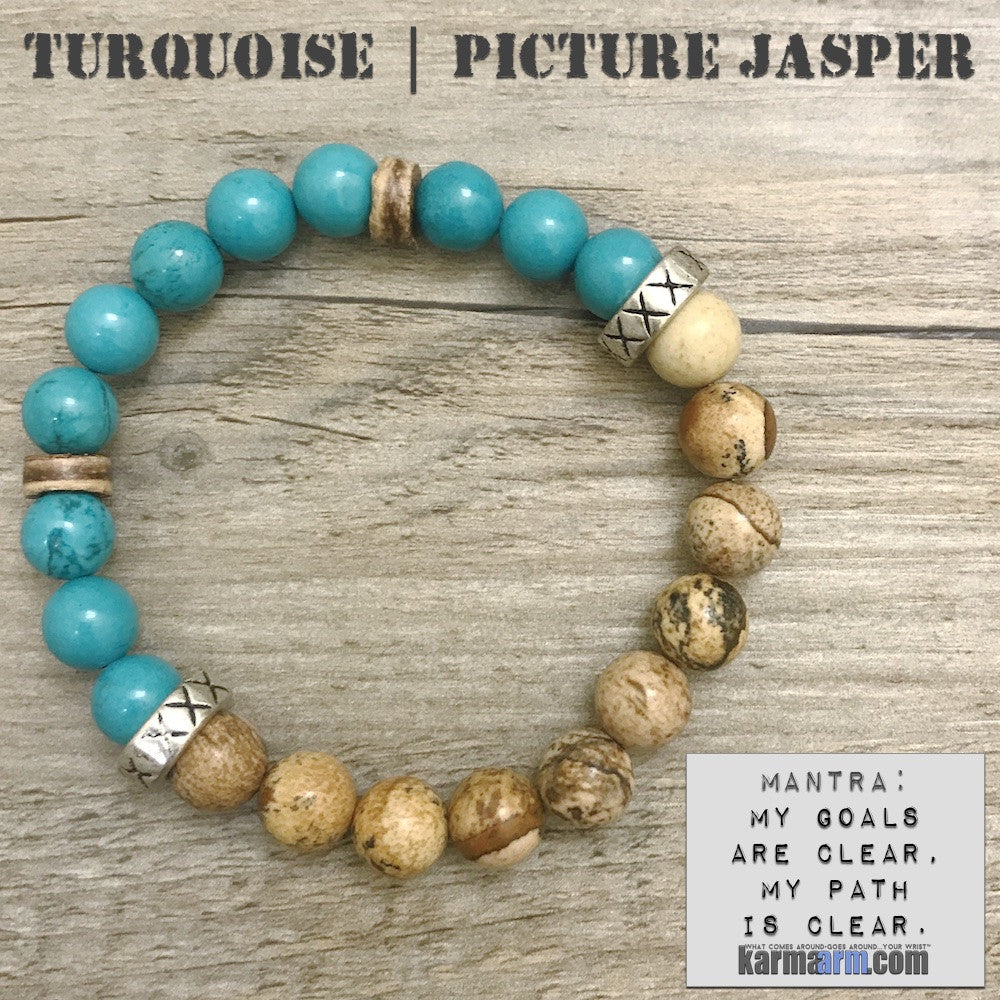 Stretch Yoga Bracelets. Charm. Energy Healing. Handmade Men's Women's Luxury Beaded Mala & Jewelry. Law of Attraction. Manifest. #LOA. Blue Turquoise Picture Jasper.