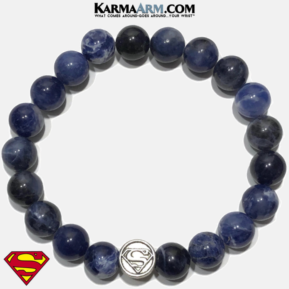 Superman Bracelet. Self-Care Wellness Wristband Jewelry. Sodalite 10mm.