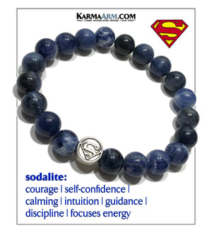 Superman Bracelet. Comic-Con Self-Care Wellness Wristband Jewelry. Sodalite 10mm.