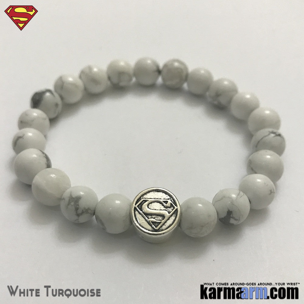 Superman Bracelets. DC Comics SuperHero Silver. Beaded Yoga. Black Onyx Handmade Bracelets. Law of Attraction #LOA. White Turquoise.