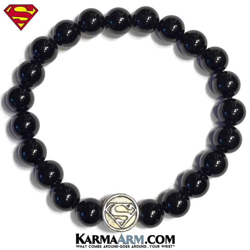 Superman Bracelets. DC Comics SuperHero Silver. ComicCon CosPlay Jewelry. Black Onyx.