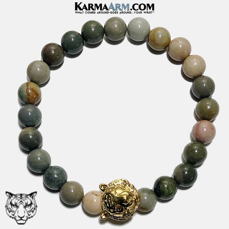 Tiger Wellness Self-Care Meditation Yoga Bracelets. Mens Wristband Jewelry. Ocean Jasper.