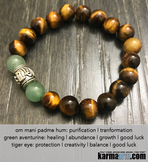 Tiger Eye. Yoga Bracelet. Chakra OM Mantra Beaded Stretch Jewelry. Handmade Reiki Meditation Mala.