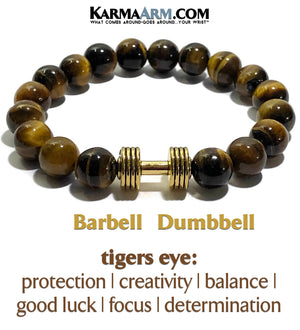 Barbell Dumbbell Fitness Bracelet. Meditation Jewelry. Tiger eye mens wristband.