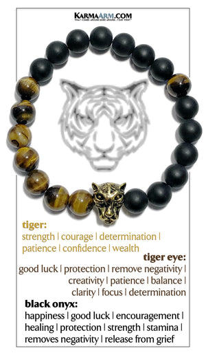 Tiger Meditation Mantra Yoga Bracelets. Mens Wristband Jewelry. Tiger Eye Onyx.