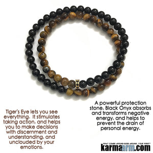 Mens Beaded Yoga Bracelets. Tiger eye onyx Chakra Mala Stretch Yoga Jewelry. Healing Meditation.