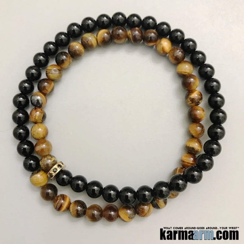 Yoga Jewelry. Tiger eye onyx Beaded Bracelets Stretch Beaded Chakra Meditation Mala Energy Healing.