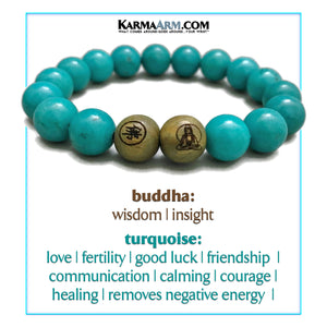 Mindfulness Buddha Yoga Bracelets. Meditation Self-Care Wellness Wristband Zen Jewelry. Blue Turquoise.