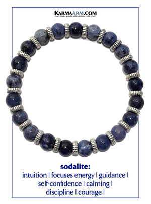 Sodalite Meditation Mantra Yoga Bracelet. Self-Care Wellness Wristband Zen bead mala Jewelry.
