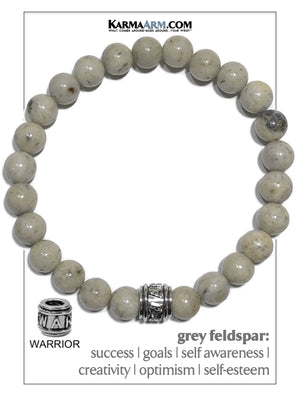 Warrior Wellness Self-Care Meditation Yoga Bracelets. Mens Wristband Jewelry. Grey Feldspar.