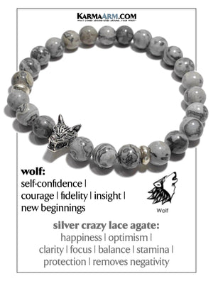 WOLF Meditation Mantra Bead Yoga Bracelet. Self-Care Wellness Wristband. Crazy Lace Agate. copy