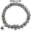 WOLF Meditation Self-Care Wellness Mantra Yoga Bracelet. Bead Wristband. Crazy Lace Agate.