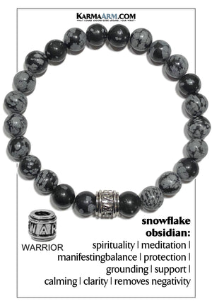 Warrior Meditation Mantra Yoga Bracelet. Self-Care Wellness Wristband Jewelry. Snowflake Obsidian.
