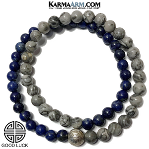 Warrior Seize The Day Courage Meditation Mantra Yoga Bracelet. Self-Care Wellness Wristband Jewelry. Crazy Lace Agate. copy 2