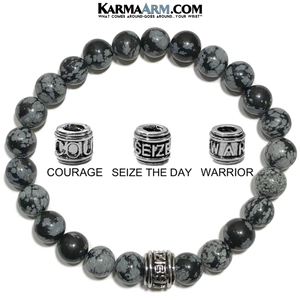 Courage Meditation Mantra Yoga Bracelet. Self-Care Wellness Wristband Jewelry. Snowflake Obsidian.