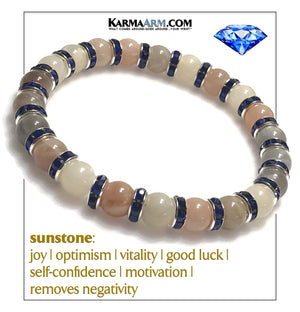 Self-Care Meditation Mens Bracelet. Wellness Wristband Yoga Jewelry. Sunstone.