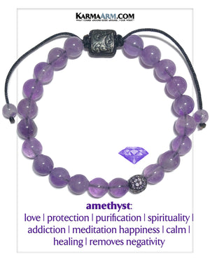 Ametyst Yoga Bracelet. Mens Wellness Self-Care Meditation Mantra Yoga Bracelets. Mens Wristband Jewelry.