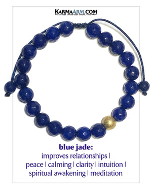 Wellness Self-Care Meditation Mantra Yoga Bracelets. Mens Wristband Jewelry. Blue Jade. Textured Silver Stainless Steel. Gold.
