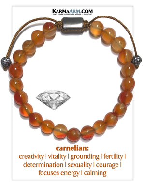 Wellness Self-Care Meditation Mantra Yoga Bracelets. Mens Wristband Jewelry. Carnelian.