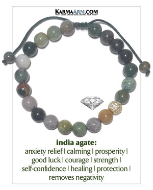 Wellness Self-Care Meditation Mantra Yoga Bracelets. Mens Wristband Jewelry. Indian Agate.  CZ Diamond Ball.