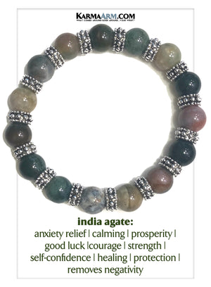 Wellness Self-Care Meditation Mantra Yoga Bracelets. Mens Wristband Jewelry. Indian Agate.