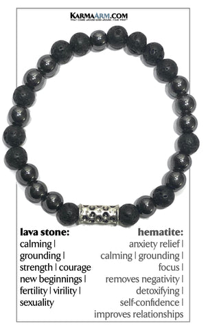 Wellness Self-Care Meditation Mantra Yoga Bracelets. Mens Wristband Jewelry. Lava Hematite.