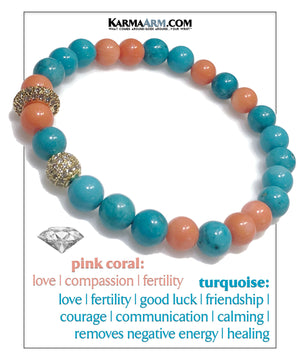Mindfulness Meditation Mantra Self-Care Wellness Yoga Bracelets. Mens Wristband Jewelry. Turquoise Pink Coral.