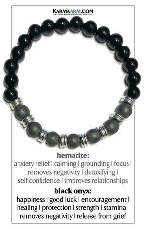Wellness Self-Care Meditation Yoga Bracelets. Mens Wristband Jewelry. Black Onyx.