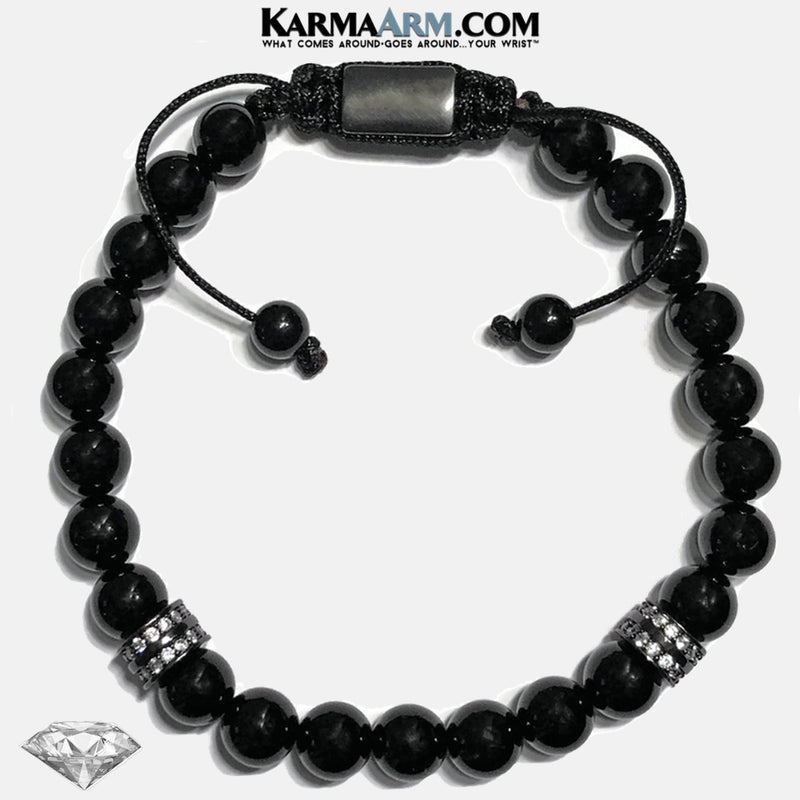 Wellness Self-Care Meditation Yoga Bracelets. Mens Wristband Jewelry. Black Onyx. copy 2